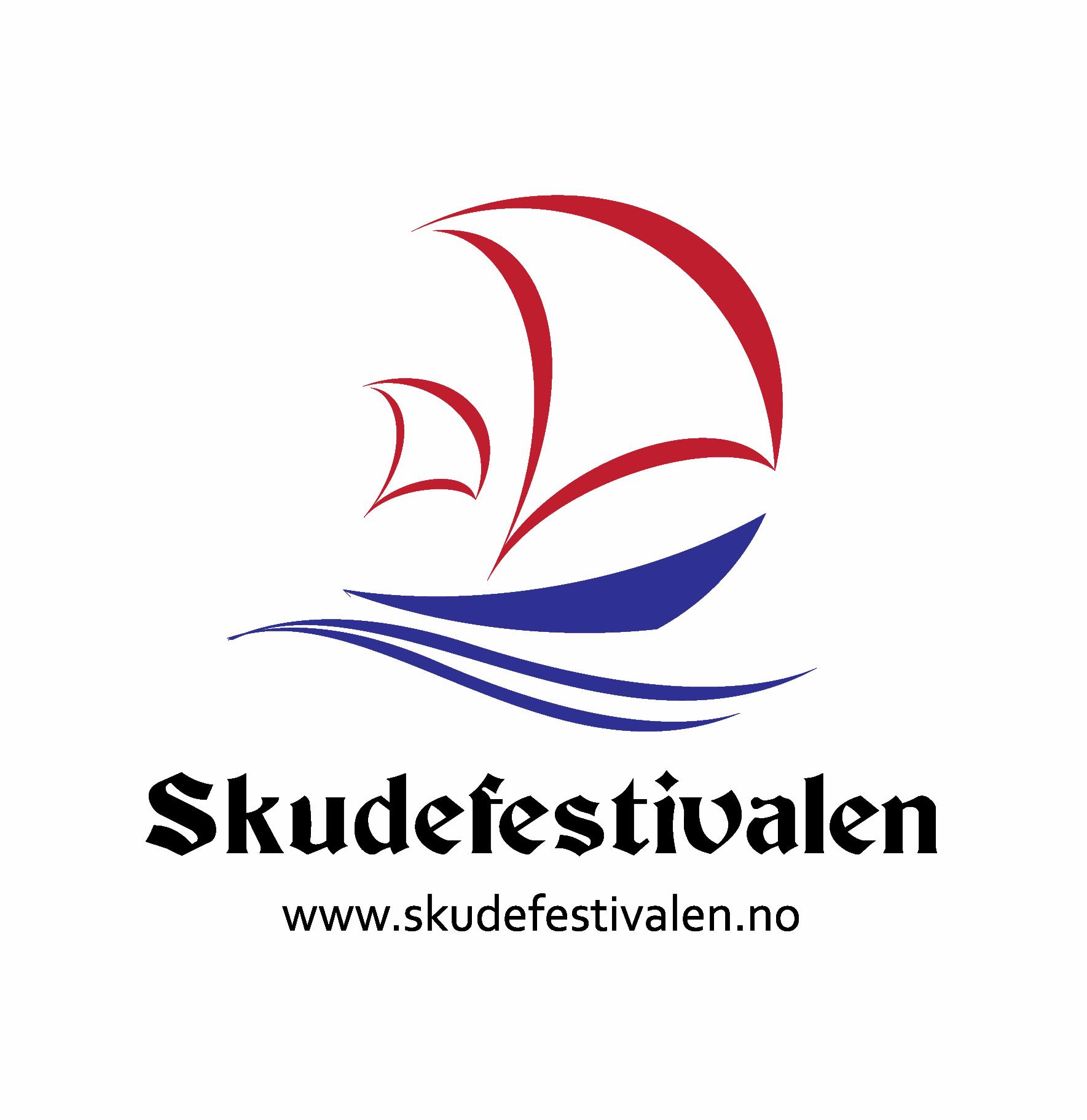 Skudfestivalen logo with web address p hvit bakgrunn
