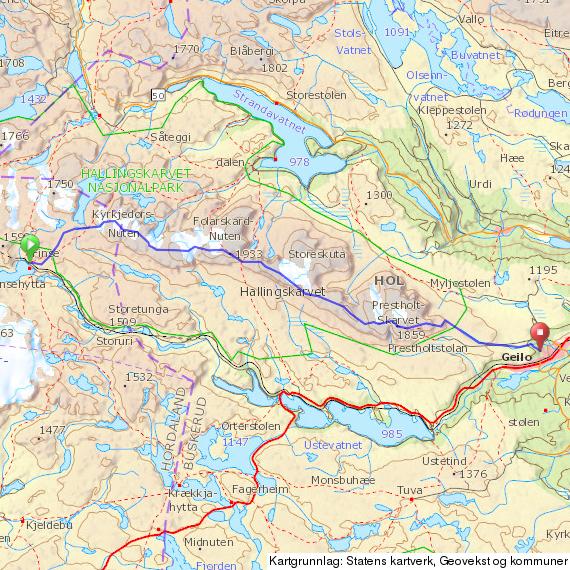 hallingskarvet kart HardingMarsj: Hallingskarvet på langs hallingskarvet kart